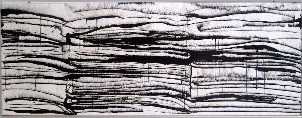 Fields, ink on 180gsm Saunders paper mounted on canvas, 121X232cm, 2009