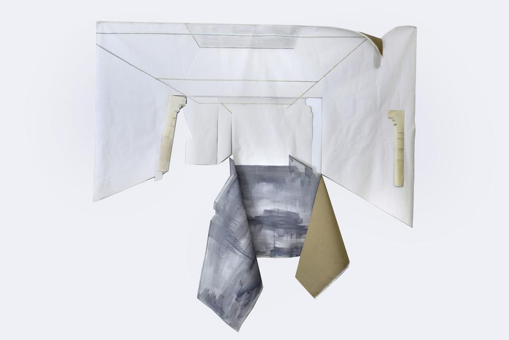 Florent Masante, 2016, huile sur toile découpée, 215 x 300 cm Exposition FRAC à QUATRE (réplique), 2016, Frac Languedoc-Roussillon, Montpellier Crédit photo : Pierre Schwartz