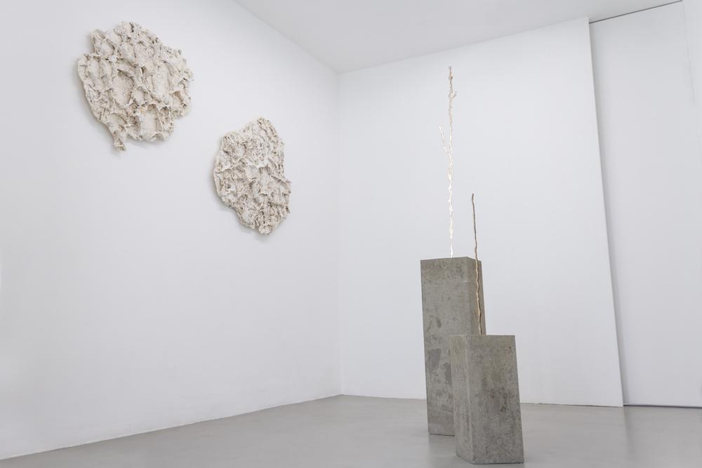 (à droite) Corail de Terre #1 et #2, 2014. Plâtre, polyester, 110 x 80 x 10 cm ; Crack Propagation #1 et #2, 2017. Bronze, béton dimensions variables.