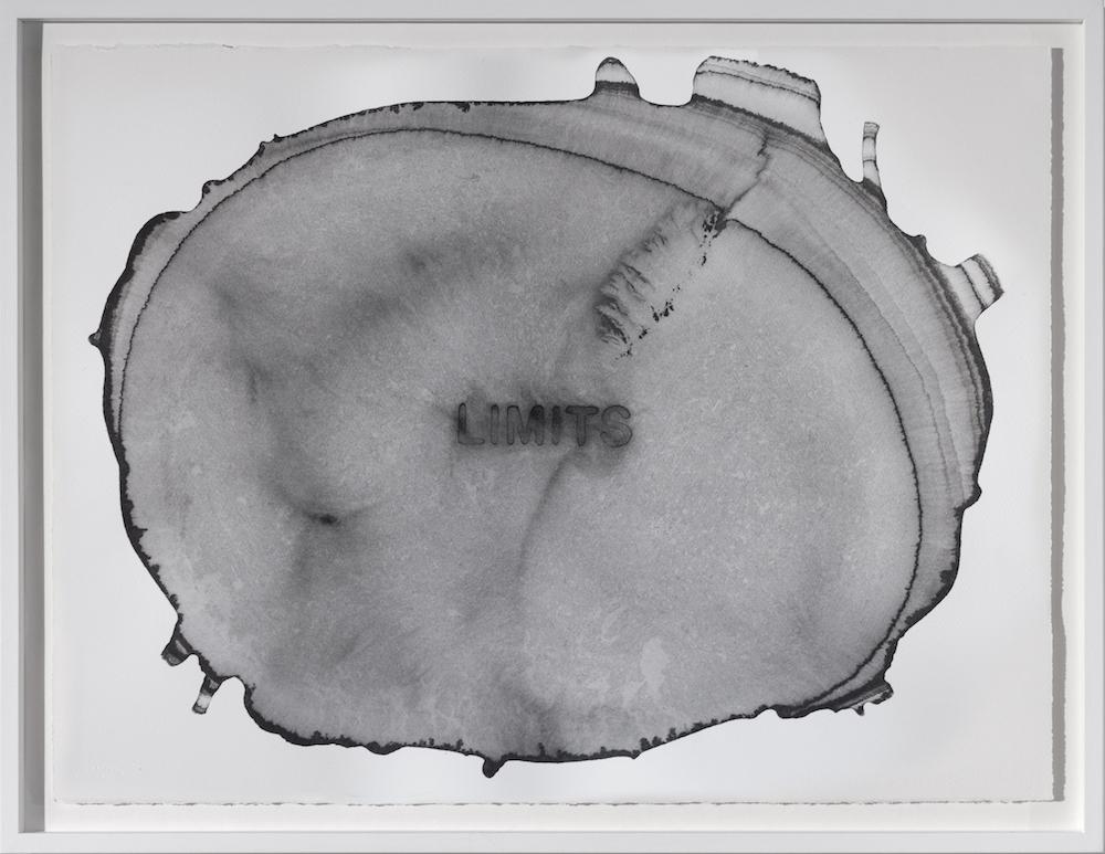 Water & Words [Limits] (2017). Encre de chine sur papier aquarelle, cadre rehaussé en chêne peint, verre museum anti-reflets et anti-uv, 63 x 81,5 cm.