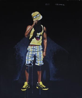 Fahamu Pecou, ...and Poor Us Is He, 2011. Acrylique et pastel gras sur toile, 183 x 152 cm.