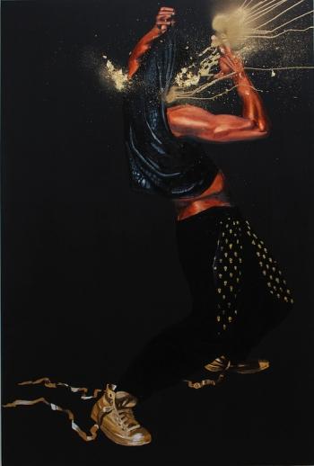 Fahamu Pecou, Brilliance, 2015. Acrylique, bombe et feuille d'or sur toile, 152 x 122 cm.