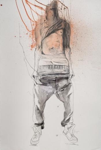 Fahamu Pecou, Lifted, 2014. Crayon et acrylique sur papier, 142 x 102 cm.