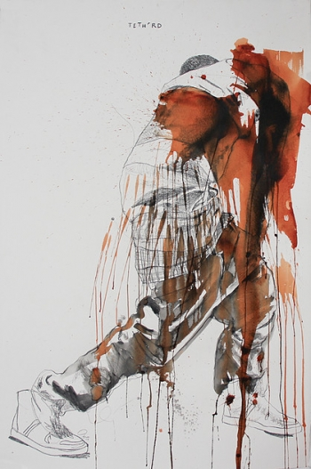 Fahamu Pecou, Tetherd, acrylique et graphite sur papier. Série GRAV•I•TY (2013-2014)