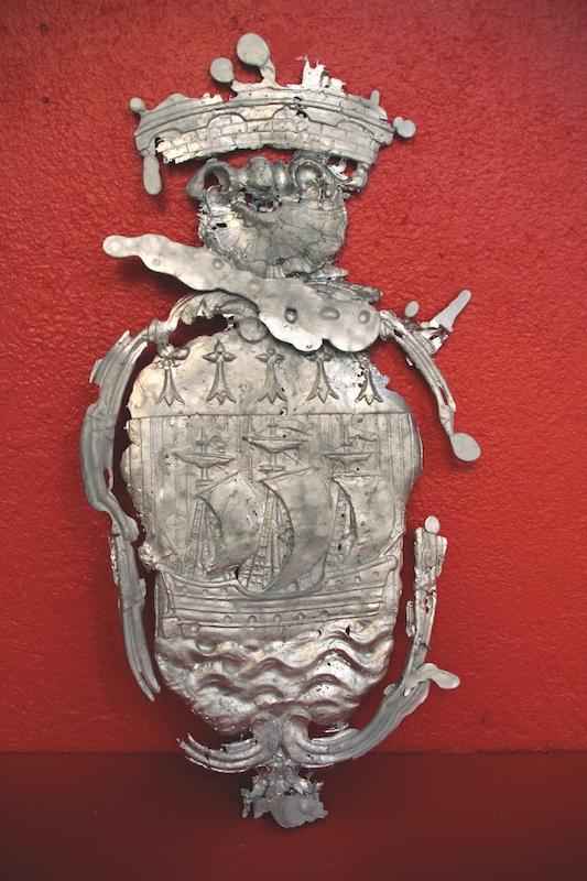 Favet Neptunus Eunti Neptune favorise ceux qui osent ** Empreinte issue du Musée des Beaux-Arts de Nantes.Étain, zinc, cuivre, 78 x 52 cm, 2016. Courtesy Jean-Baptiste Janisset