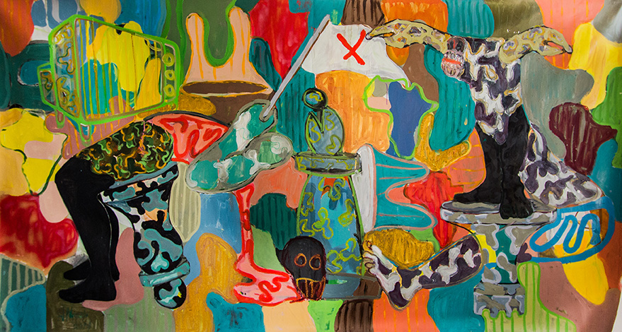 Gresham Tapiwa Nyaude Reading The Signs 2017 - Oil paint on canvas - 150 x 300 cm © First Floor Gallery Harare - Courtesy First Floor Gallery Harare