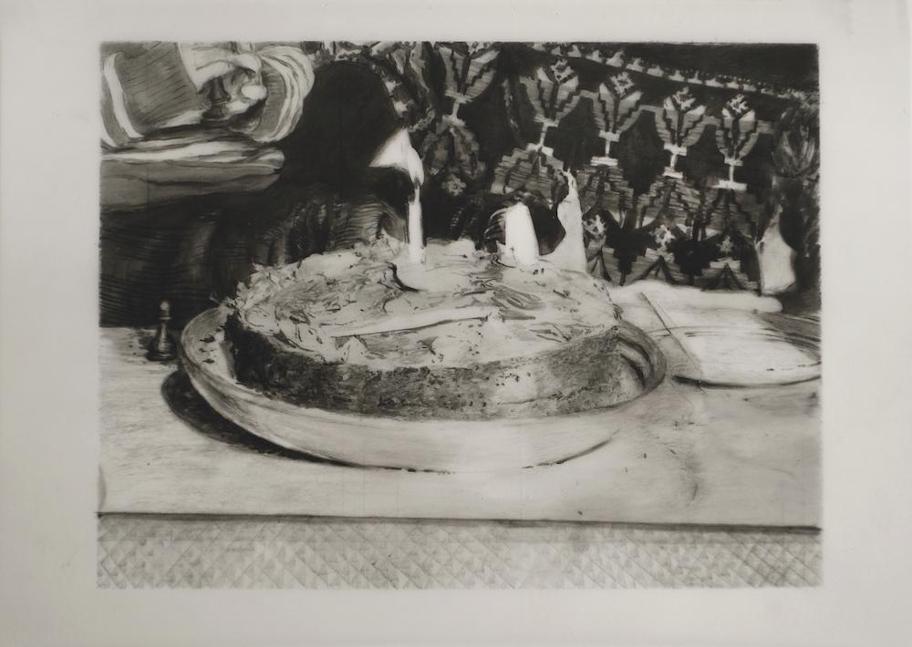 Mireille Blanc, Morhange, 2014. Fusain sur calque, 29,7 x 42 cm. Courtesy de l'artiste.