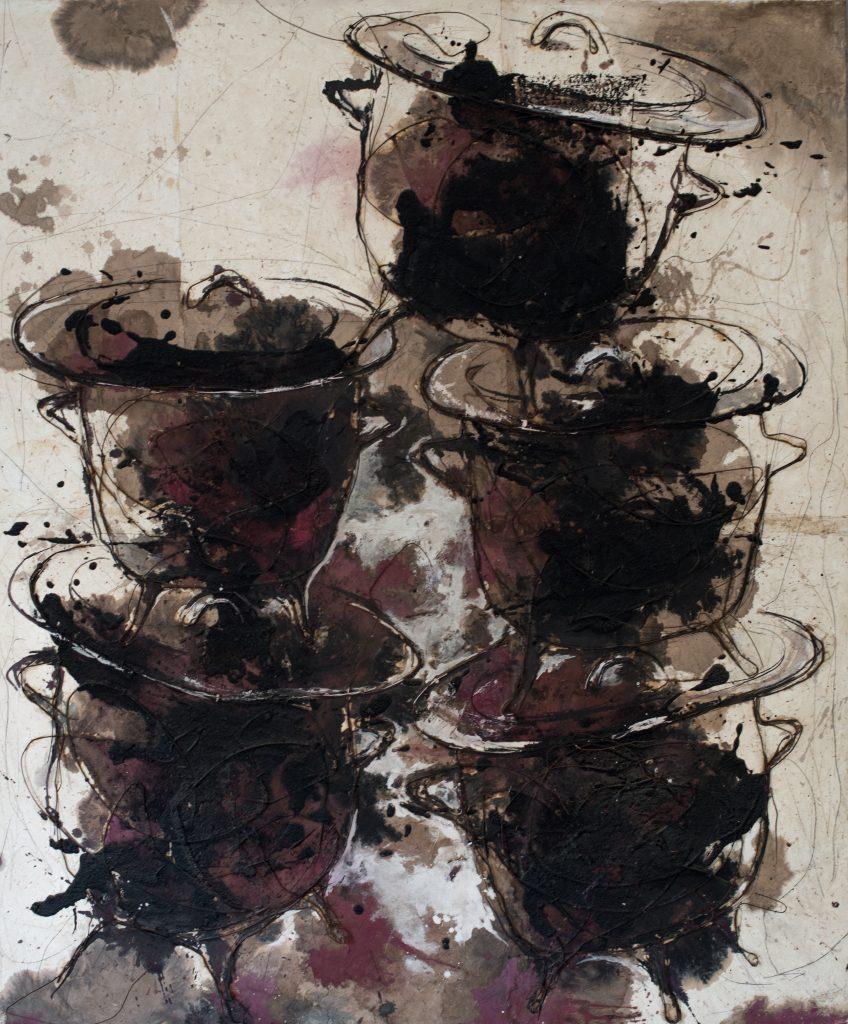 Oumar Ball Marmites 2017 - Technique mixte sur toile - 145 x 121 cm © Bruno Déméocq - Courtesy Galerie Atiss