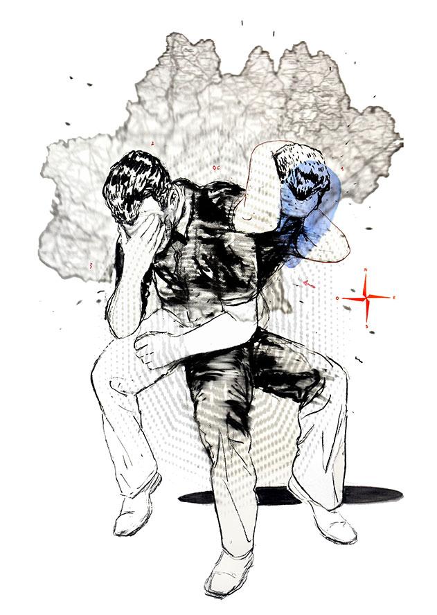 Mohamed Lekleti Point cardinal 2017 - Technique mixte sur papier - 75 x 110 cm© Mohamed Lekleti - Courtesy Dupré & Dupré Gallery
