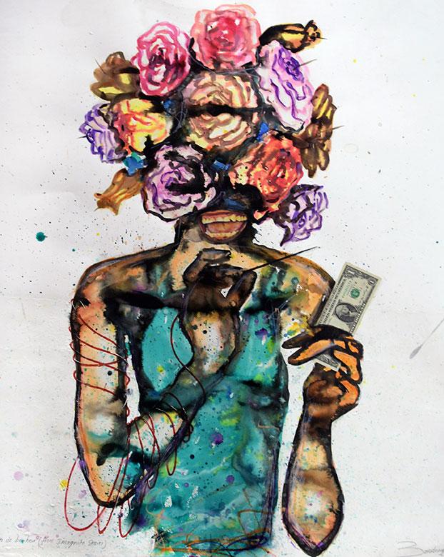 Steve Bandoma L'illusion de bonheur (from Incognito series) 2016 - Technique mixte sur papier - 100 x 85 cm © Alain Huart - Courtesy Angalia