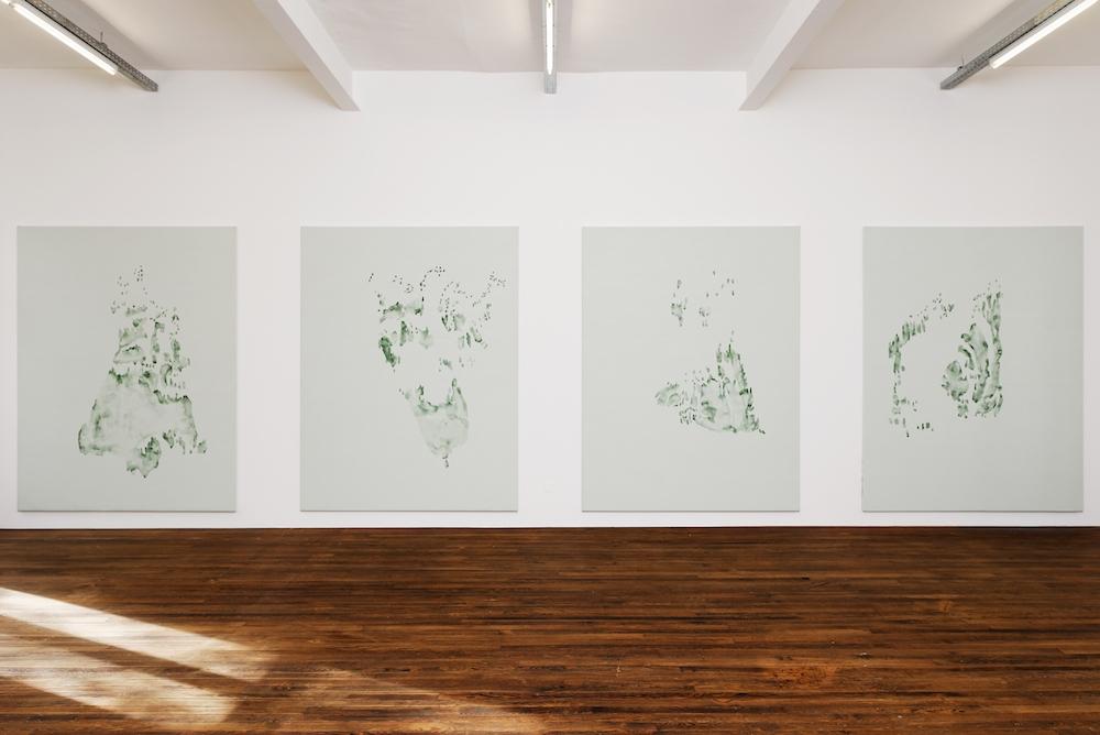 Irene Kopelman, Tree Lines, 2015. Acrylique sur toile, 190 x 250 cm chaque. 4 peintures. Courtesy de l'artiste et Labor, Mexico City.