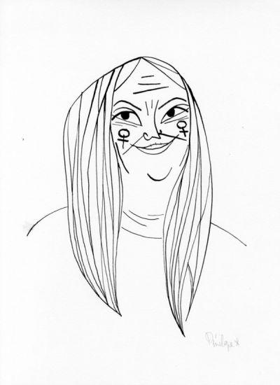 Pénélope Bagieu   Thérèse  Dessin original pour Culottées  27,8 x 38,2 cm  Encre de chine sur papier  2017
