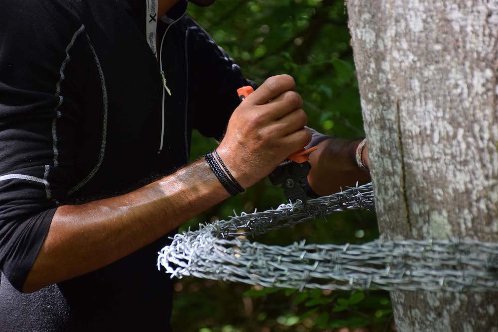 Abdul Rahman Katanani, fil barbelé. Installation Vents des forêts