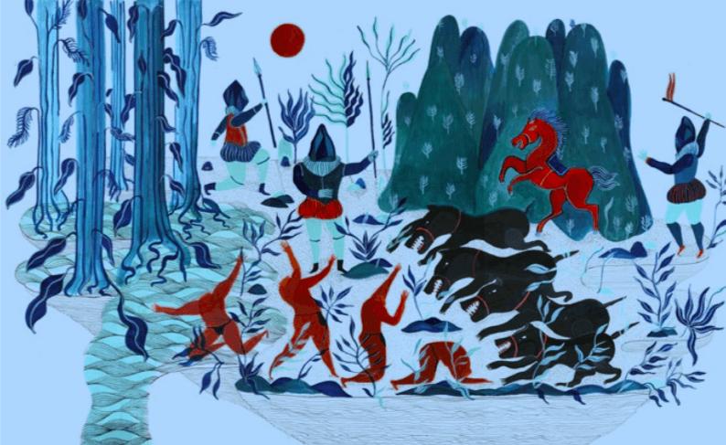 Alexandra Arango, Série de dessins, El pais de la canela, encre acrylique sur papier, 50 x 35 cm, 2014