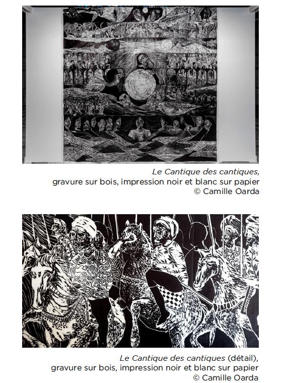 Camille Oarda, Le Cantique des cantiques, gravure sur bois, impression noir et blanc sur papier © Camille Oarda