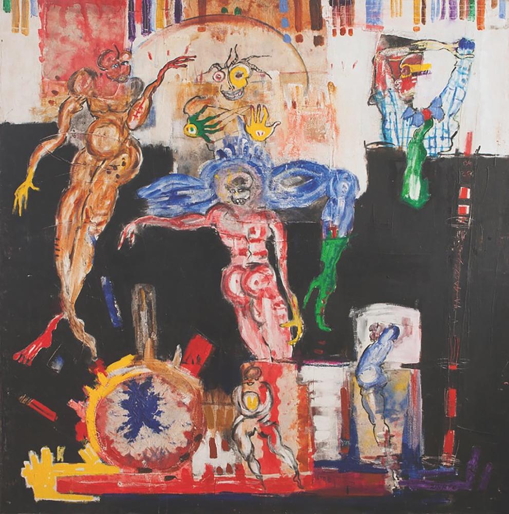 Dominique Zinkpè, Minuit 2, 2014. Acrylique, pastel gras sur toile, 150 x 150 cm. Courtesy Galerie Vallois.