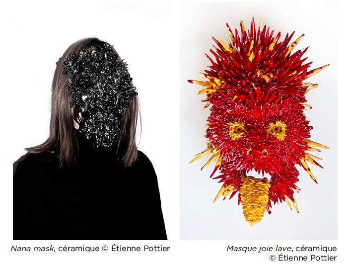 Étienne Pottier, Nana mask, céramique et Masque joie lave, céramique © Étienne Pottier