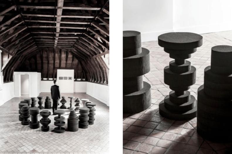 Felipe Ribon, Mensa, Série de 20 tables, verre expansé, 45 x 80 cm chaque objet, 2015.