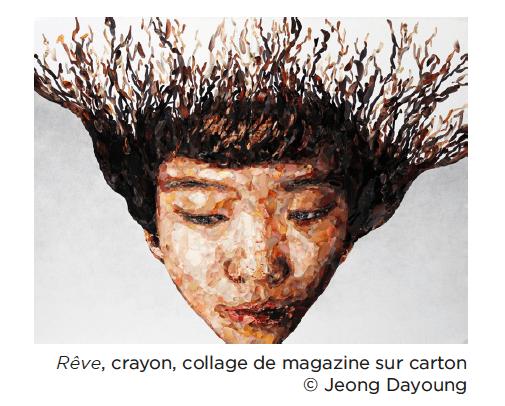 Jeong Dayoung, Rêve, crayon, collage de magazine sur carton © Jeong Dayoung