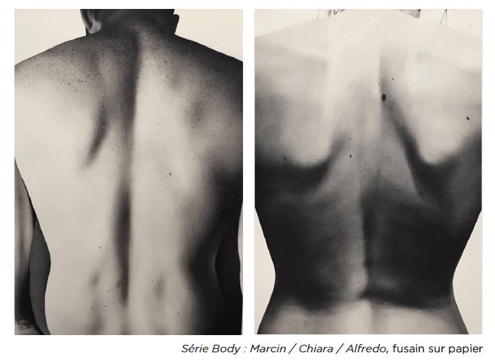 Katarzyna Wiesiolek, Série Body : Marcin / Chiara / Alfredo, fusain sur papier