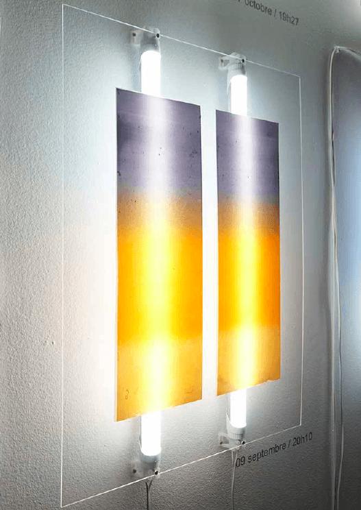 Marion Flament, CAPTURES - CIELS sérigraphie sur métacrilate, tubes led, 6 formats de 70x42cm, 2016. Exposition POR VENIR, Casa De Velazquez, novembre 2016.