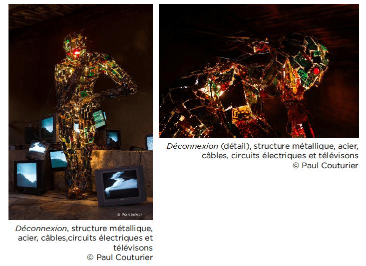 Paul Couturier, Déconnexion, structure métallique, acier, câbles,circuits électriques et télévisons © Paul Couturier