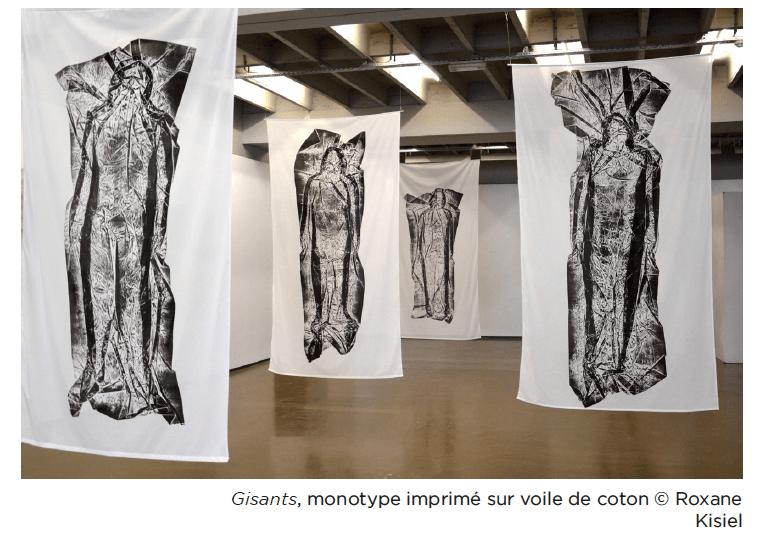 Roxane Kisiel, Gisants, monotype imprimé sur voile de coton © Roxane Kisiel
