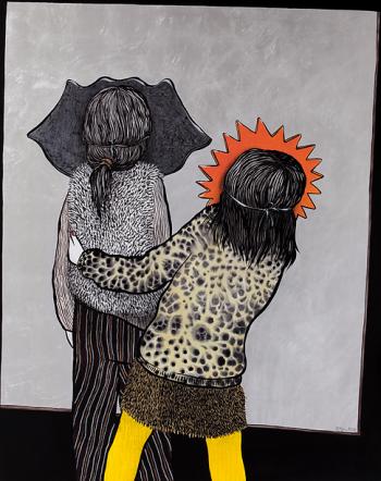 Ella et Pitr, Carnaval dans le miroir, 2017. Acrylique, huile et feuille d'argent sur toile, 162 x 130 cm. Courtesy Galerie Le Feuvre