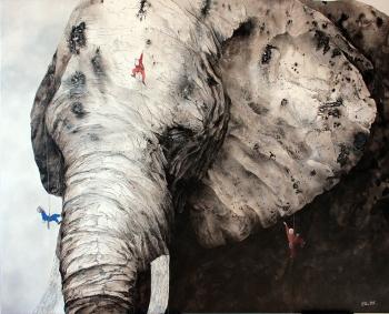 Ella et Pitr, Montagne 2, 2017. Acrylique et bombe aérosol sur toile, 130 x 162 cm. Courtesy Galerie Le Feuvre
