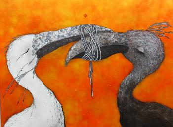 Ella et Pitr, Motus et bouche cousue, 2017. Acrylique et bombe aérosol sur toile, 97 x 130 cm. Courtesy Galerie Le Feuvre