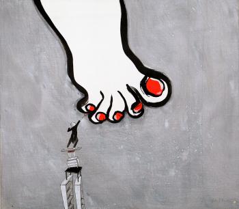 Ella et Pitr, Paso Doble, Poussières, 2017. Acrylique sur toile, 113 x 100 cm. Courtesy Galerie Le Feuvre