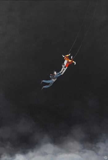 Ella et Pitr, Père et fils, 2017. Acrylique et bombe aérosol sur toile, 130 x 89 cm. Courtesy Galerie Le Feuvre