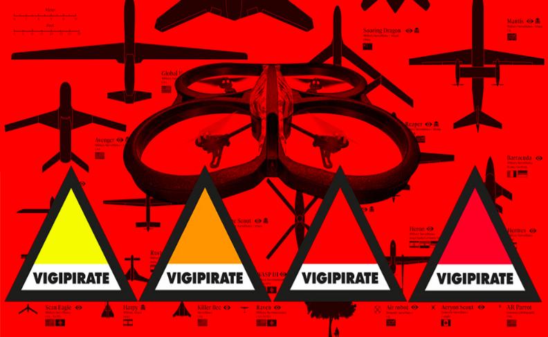 Miyö Van Stenis, Vigipirate Cuadcopter Drone Project (version augmentée), 2017. Installation Drones : matériaux divers (plastique, aluminium). Dimensions variables. Courtesy de l'artiste.