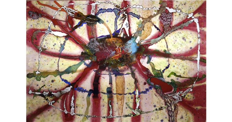 Lucie Picandet Nexus 3 Paysages intérieurs d'Hui 2.3, aquarelle et gouache sur papier, 130x190 cm, 2017. Courtesy artiste