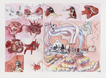 Lucie Picandet, Storyboard Celui que je suis - Planche 3 / 2017. Aquarelle sur papier, 40 x 50 cm. Courtesy artiste et Galerie Georges-Philippe & Nathalie Vallois Paris