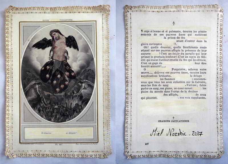 Maël Nozahic, Le feu, technique mixte surcanivet, 8,2 x 12,4 cm, 2017. Courtesy artiste.