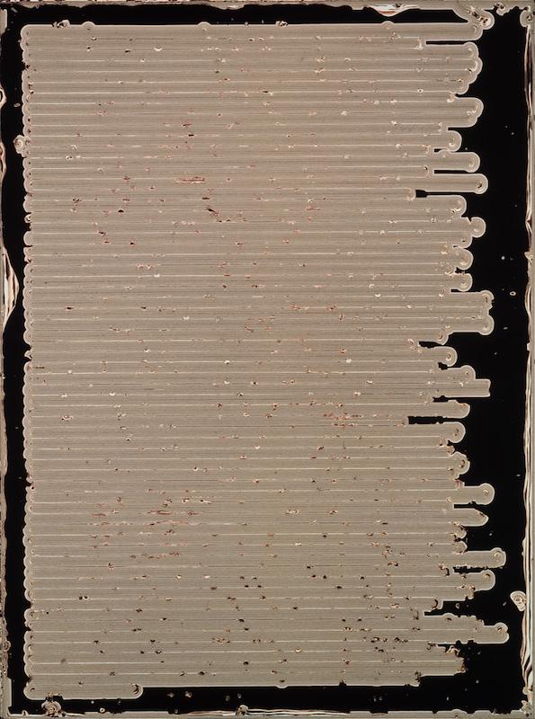 """Pierre Cordier """"Chimigramme"""", 8/8/90 d'après « La Suma » de Jorge Luis Borges, 134,5 x 101cm, 1994/1992. Collection de la MEP."""