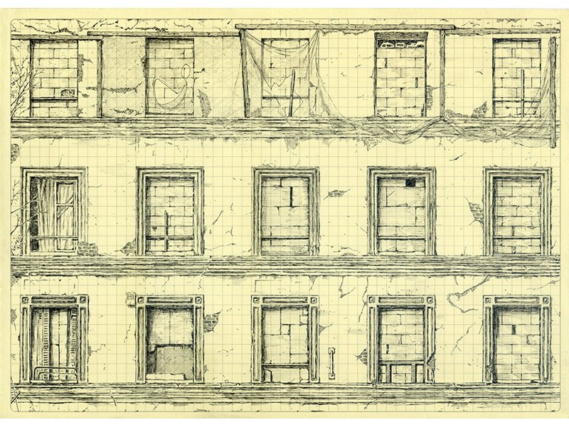 Antoine Desailly, Sans titre, série dessin répétitif, 21x297cm, 2011. Courtesy artiste et galerie MODULAB