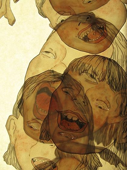 Laura Bottereau & Marine Fiquet, Abcéder (extrait), 2017. Ensemble de dessins et de textes. 10 dessins, 30 x 40 cm, feutre et graphite sur papier de pierre. 1 dessin, dispositif lumineux, 60 x 60 cm, feutre et graphite sur papier de pierre. 1 ensemble de 12 textes, 50 x 70 cm. Courtesy artistes © Laura Bottereau & Marine Fiquet
