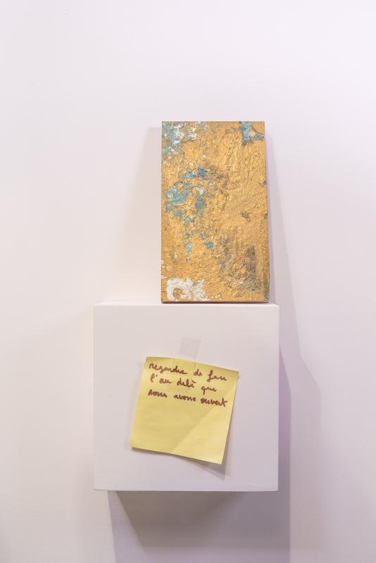 De haut en bas : 50 shades, extrait d'une série de 50 peintures, Florent Frizet & Caroline Saves, 2015, 16 x 9 cm, bois, acrylique, vernis, aquarelle, paillettes Sans titre (regarder de face), Inconnu, 2015, 7.5 x 7.5 cm, écriture sur post-it Photo © Diego Guglieri Don Vito
