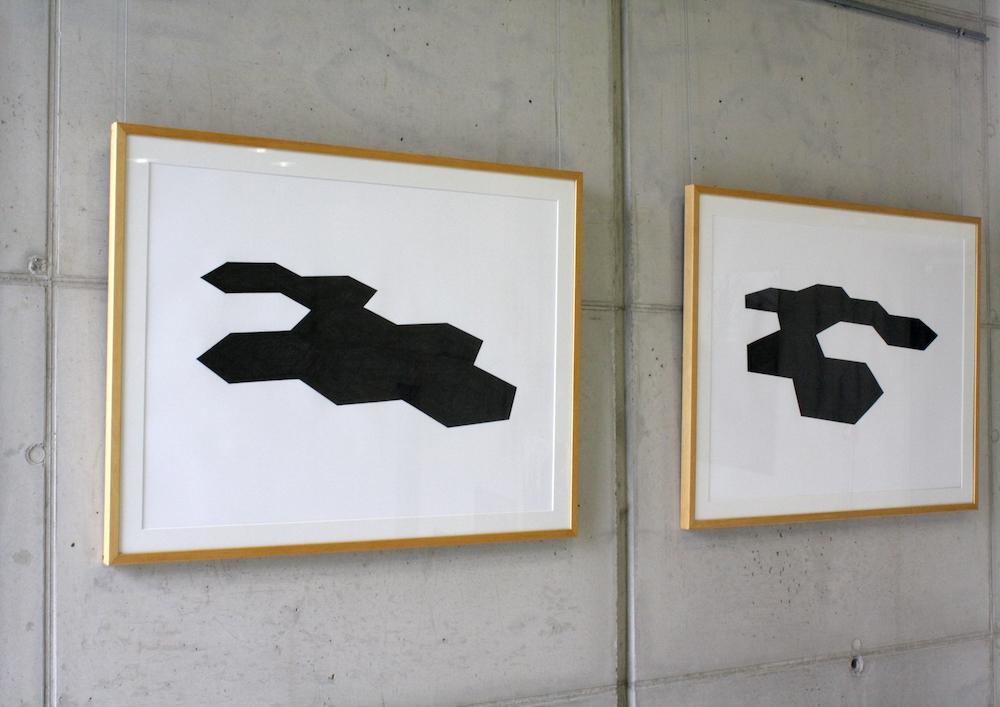 Rémi de Chiara, USB (Unités Structurelles de Base), graphite sur papier, 105x80cm, 2015 - vue de l'exposition Echo(s))), une église, une usine, un musée...  église Saint Pierre à Firminy / Musée d'Art Moderne de Saint-Etienne (42).