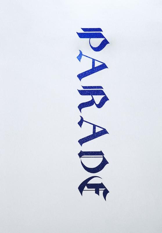 Floryan Varennes, PARADE, 2018. Dessin typographique gothique, papier pailleté, 160x30cm. Exposition Motifs Belligérants, Centre d'arts Fernand Léger-Port de Bouc 2018
