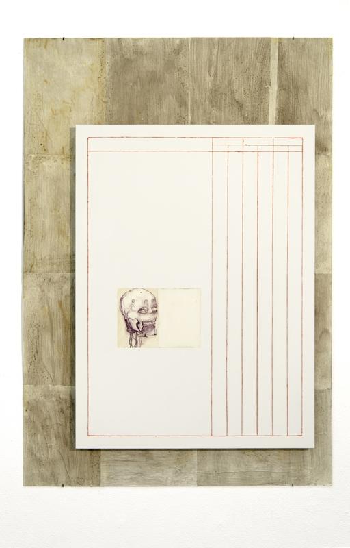 Jonathan Vidal, The immortal artist : a no man-show. Toile métallique, dibbond, colle froide, encre calligraphique, papier auto adhésif, latex, 2018.