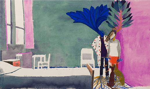 Julie Polidoro, Etre arbre III, 2017. Technique mixte sur toile de lin, 88 x 150 cm. Courtsey artiste et Galerie Valérie Delaunay.