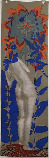 Julie Polidoro, Je suis un arbre IV, 2018. Technique mixte sur toile de lin suspendue, oeillets en métal, 250 x 74 cm. Courtsey artiste et Galerie Valérie Delaunay.