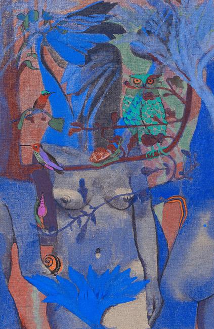 Julie Polidoro, Je suis un arbre II (hommage à Walerian Borowczyk), 2018. Technique mixte sur toile de lin, 70 x 46 cm. Courtsey artiste et Galerie Valérie Delaunay.