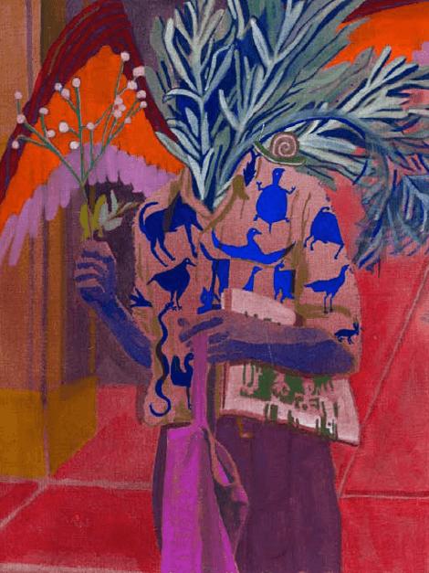 Julie Polidoro, Etre arbre II, 2017. Technique mixte sur toile de lin, 65 x 50 cm. Courtsey artiste et Galerie Valérie Delaunay.
