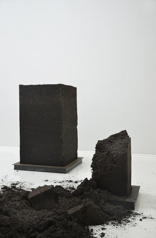 Laurence de Leersnyder,Colonne de terre I&III - 2014 - Terre végétale, socle métal - NuN, Berlin