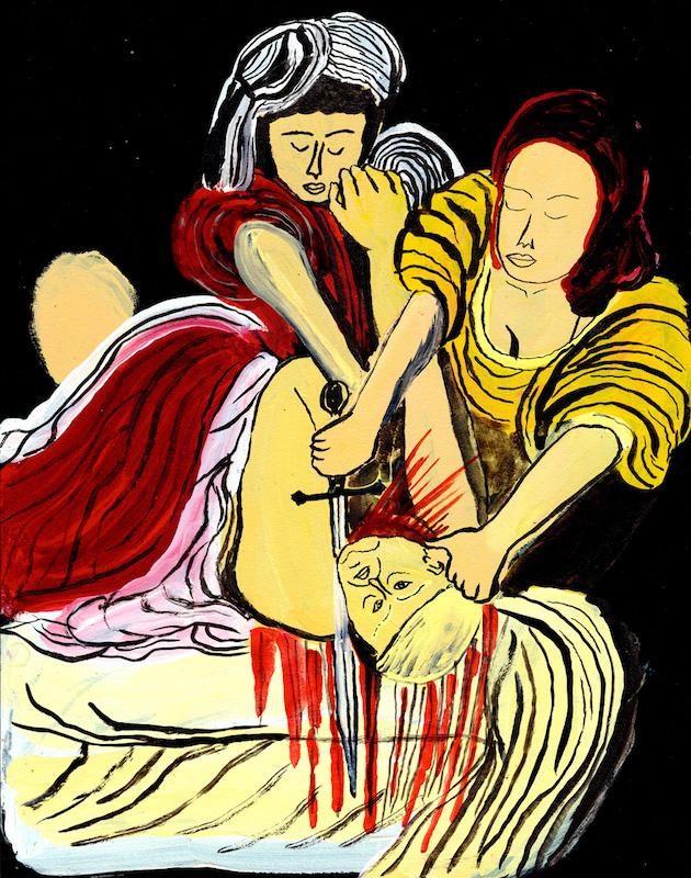 Arrington de Dionyso, «Judith Beheads Holofernes», encre acrylique, 60,96 × 45,72 cm, 2017. Courtesy de l'artiste