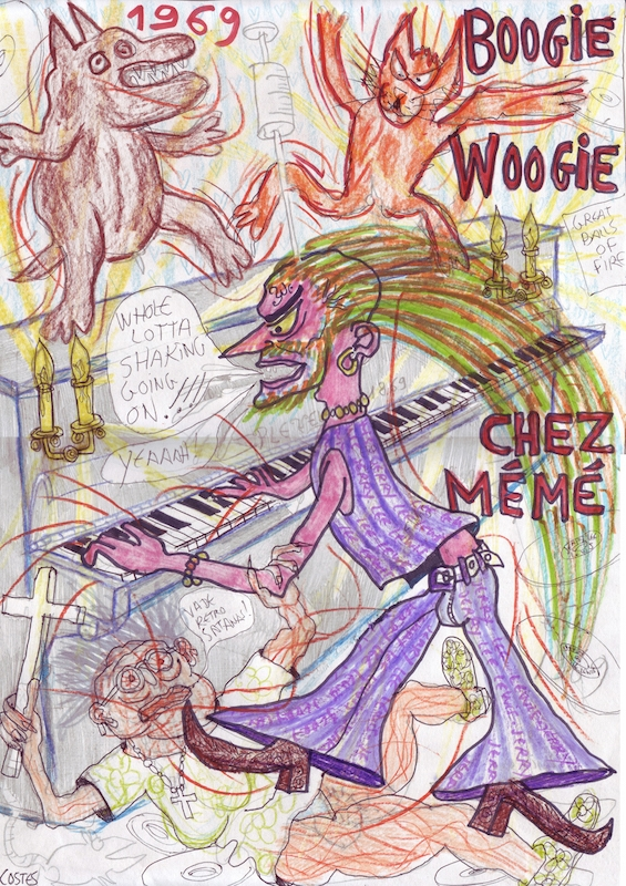 Jean-Louis Costes, « Boogie-woogie chez mémé », technique mixte, 29,7 × 42 cm, 2013. Courtesy de l'artiste